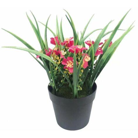 Plante artificielle Simulation de fleur artificielle Plante verte en pot Fleur artificielle Clivia Chlorophytum Plante en pot Ornements décoratifs Fleurs artificielles (rose rouge)