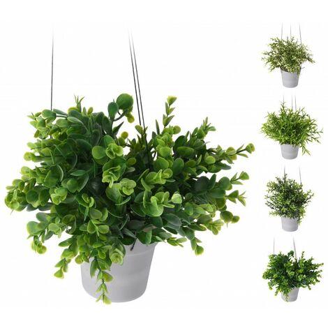 Plante en pot rond à suspendre - Blanc