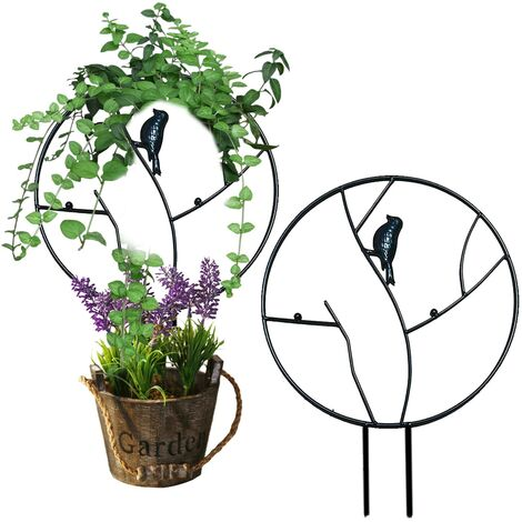 Plante grimpante de jardin Taid plante en pot rétro avec oiseau rond en métal antirouille - B