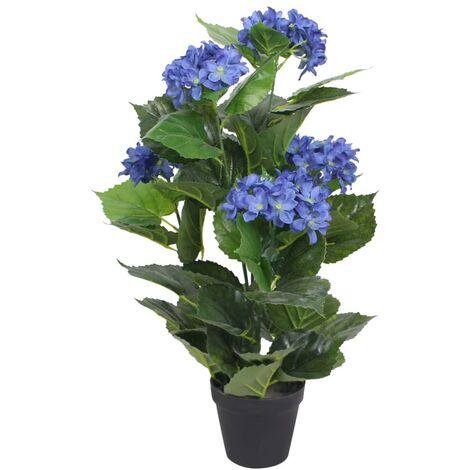 Plante hortensia artificielle avec pot 60 cm Bleu
