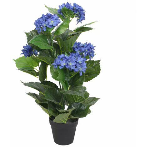 Plante hortensia artificielle avec pot 60 cm bleu - bleu
