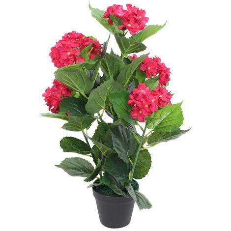 Plante hortensia artificielle avec pot 60 cm rouge - or