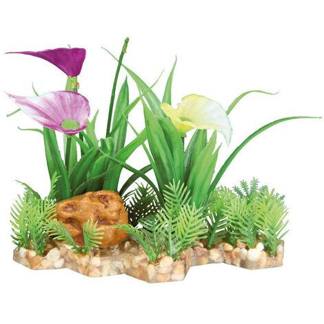 Plante plastique sur lit de gravier et résine 13cm décoration poisson
