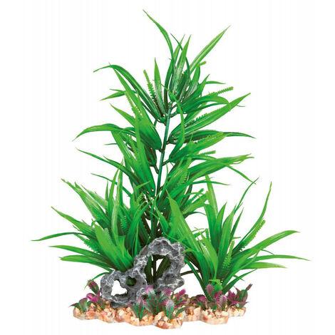Plante plastique sur lit de gravier, extensible - 28 cm