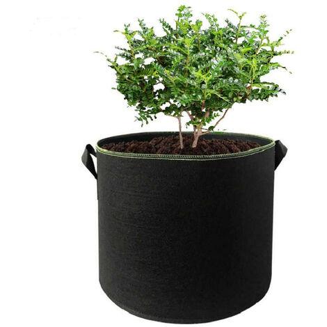 Plante Sacs Grow Grow Legumes Sacs Fleurs Les Sacs De Culture Epaissi Tissu Feutre Pots Avec Poignees 10 Gallon, Noir