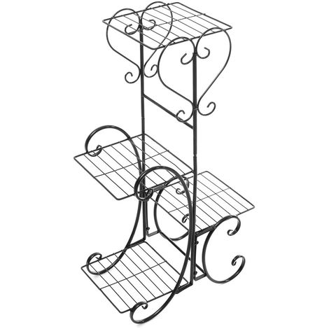 Plante Support Pot de Fleur Etagère Métal de 4 Niveaux Présentoir Fleur Décor Intérieur Extérieur Plancher Balcon Salon Noir