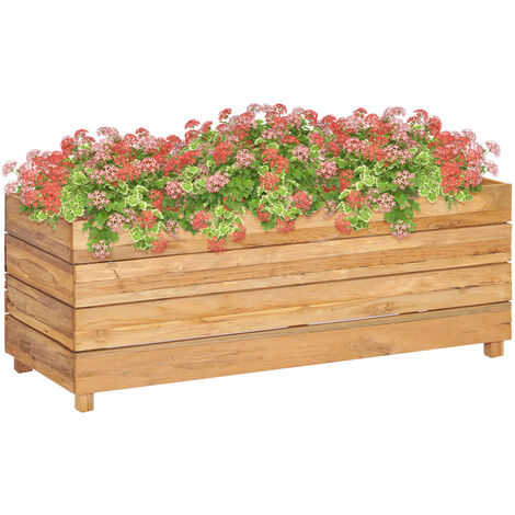 Planter 100x40x38 cm Recycled Teak and Steel