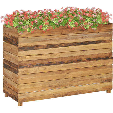 Planter 100x40x72 cm Recycled Teak and Steel