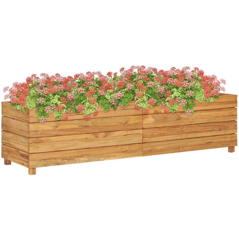 Planter 150x40x38 cm Recycled Teak and Steel