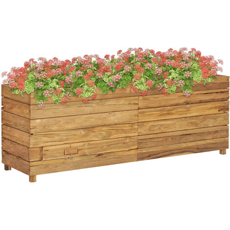 Planter 150x40x55 cm Recycled Teak and Steel