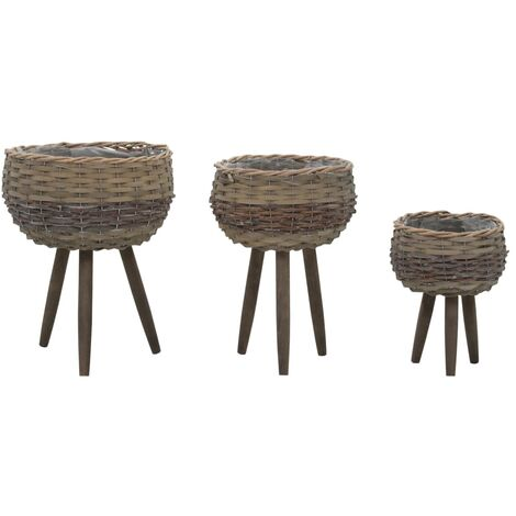 Planter 3 pcs Wicker with PE Lining - Brown