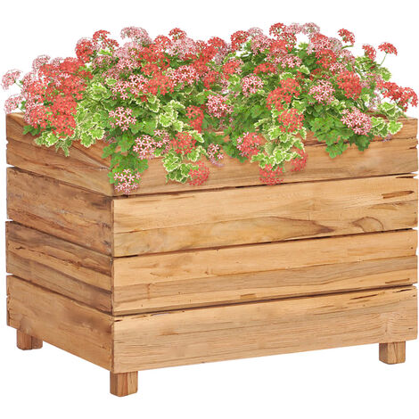 Planter 50x40x38 cm Recycled Teak and Steel