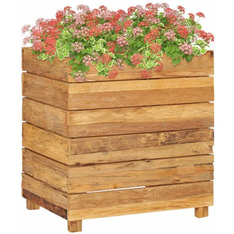 Planter 50x40x55 cm Recycled Teak and Steel