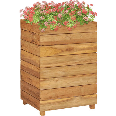 Planter 50x40x72 cm Recycled Teak and Steel
