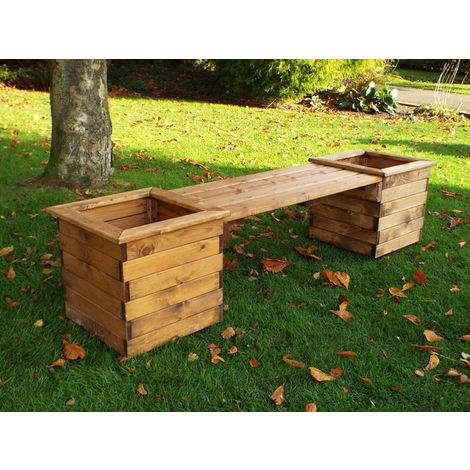 Planter Bench, wooden garden planters with bench seat, fully assembled