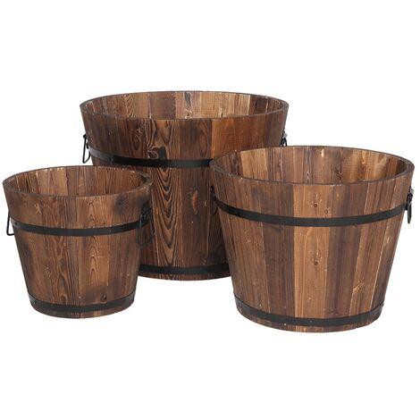 Planter Plant Pot Outdoor Set of 3, Flower Pot Garden Wooden