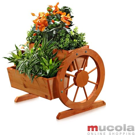 Planter with wooden wheels Garden Decoration Flower Trough Wooden Box