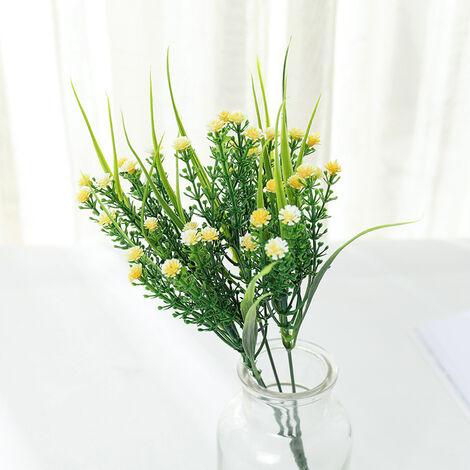 Plantes vertes artificielles, bouquets de roses, fleurs artificielles en plastique, jardinières d'extérieur, plantes décoratives, plantes vertes artificielles, fleurs roses (rouge (4 pièces)