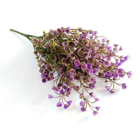 Plantes vertes artificielles Matériel de mur végétal Fleurs en pot en plastique Décoration de la maison Accessoires de composition florale Saule doré (violet)