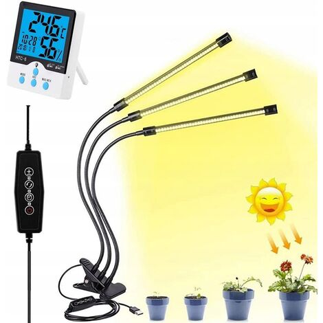 """main image of """"Planting light, gardening light, plant light, plant lighting, plant growth light, 3-pole yellow clip plant lamp + 5V 3A + thermometer adapter (HTC-2A with external probe)"""""""