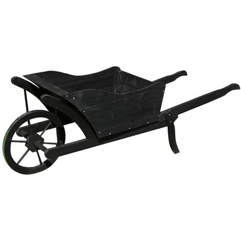 Planting wheelbarrow Wooden wheelbarrow Decorative wheelbarrow Wooden flower barrow Plant pot black