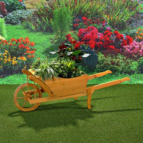 Planting wheelbarrow Wooden wheelbarrow Flower cart