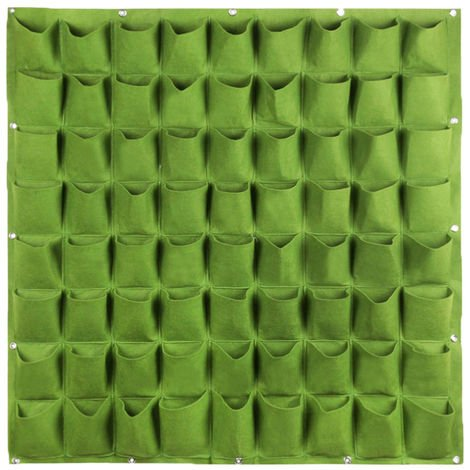 Plants Grow Bags Wall Mount Planter for Yard Garden Home Decoration Plant Protector, Green, 72 pockets