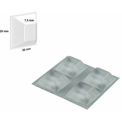 Plaque 4 blocs caoutchouc adhésif (carré)