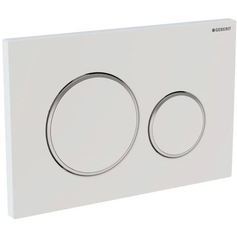 Plaque a' 2 boutons, Geberit Sigma20 New blanc-chrome