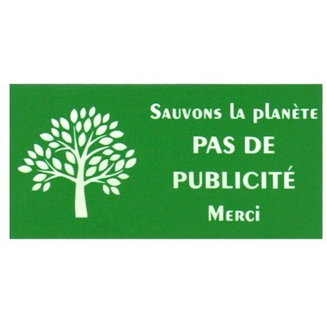 Plaque adhésive STOP PUB Sauvons la planète pour boite aux lettres couleur vert lettres blanches 8 x 4 cm - Gravure laser