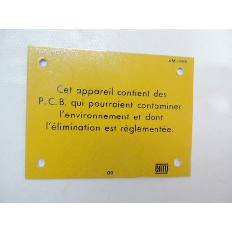 Plaque alu 100X75mm pour poste de transformation signalisation danger présence de PCB CATU AM996