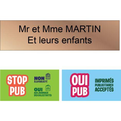 Plaque boite aux lettres Decayeux CORSE 2 lignes 100x25mm gris argent lettres noires