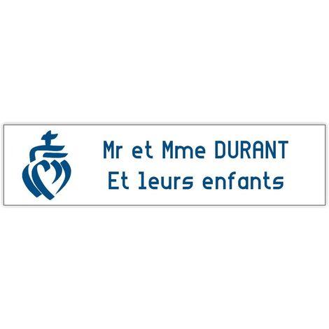 100x25mm bleue lettres blanches Plaque boite aux lettres format Decayeux TRISKELL 1 ligne