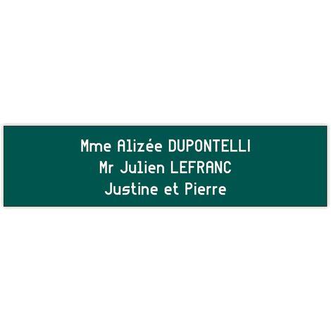 Plaque boite aux lettres format Edelen 99x24mm 1 ligne vert pomme lettres blanches