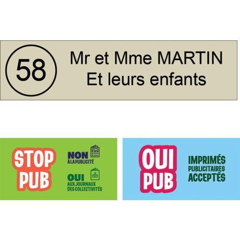 Plaque boite aux lettres NUMERO format Decayeux (100x25mm) beige lettres noires - 2 lignes - Plastique - 0.16 - Plastique