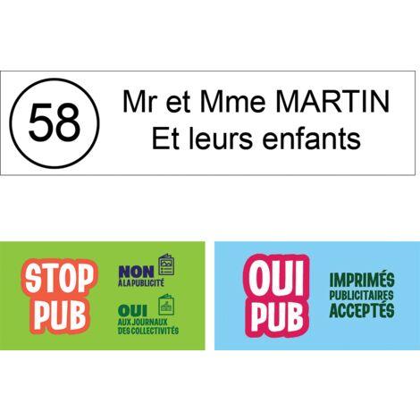 Plaque boite aux lettres NUMERO Edelen 99x24mm 3 lignes or bross/é lettres noires
