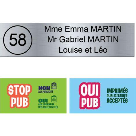 Plaque boite aux lettres NUMERO format Decayeux (100x25mm) gris argent lettres noires - 3 lignes - Plastique - 1,6 - Plastique
