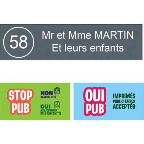 Plaque boite aux lettres NUMERO format Decayeux (100x25mm) grise lettres blanches - 2 lignes - Plastique - 0.16 - Plastique