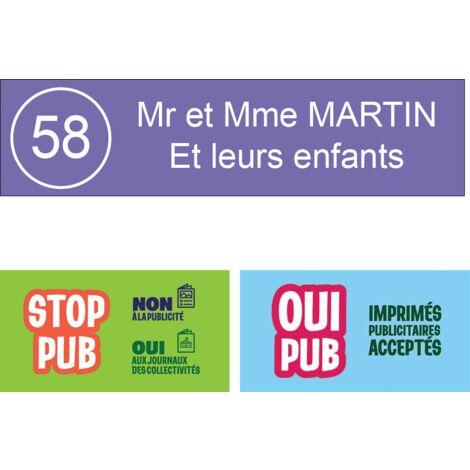 3 lignes 99x24mm violette lettres blanches Plaque boite aux lettres format Edelen
