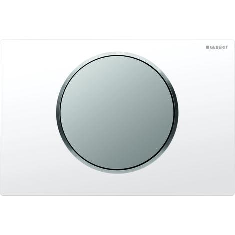 Plaque d'actionnement Geberit Sigma10 pour rincer/arrêter le rinçage, Coloris: blanc / chromé mat - 115.758.KL.5