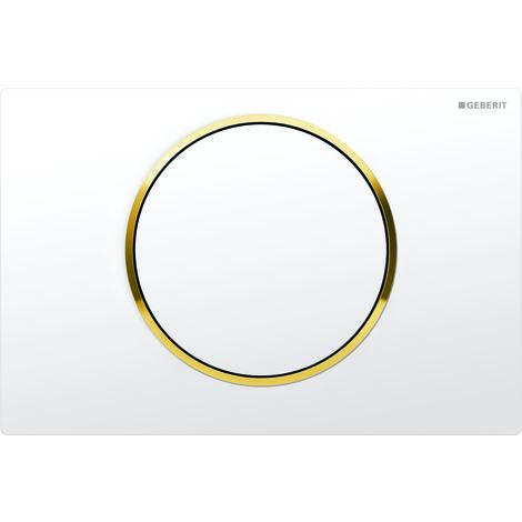 Plaque d'actionnement Geberit Sigma10 pour rincer/arrêter le rinçage, Coloris: blanc / plaqué or - 115.758.KK.5