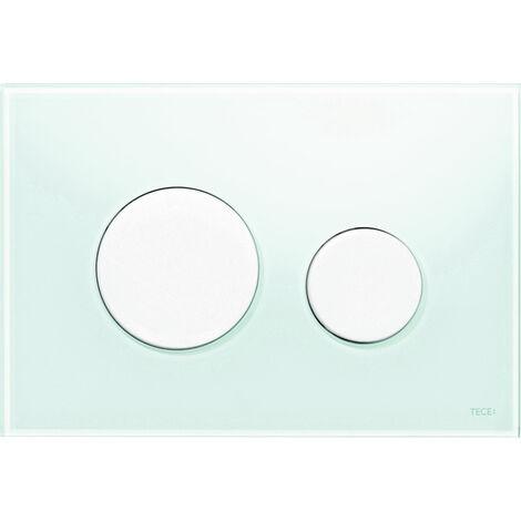Plaque d'actionnement TECE WC Verre TECEloop pour la technologie à double quantité, Coloris: Verre blanc, boutons chromés mats - 9240659