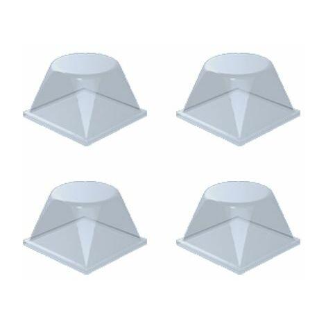 Plaque de 4 blocs adhésifs et antidérapants (carré arrondi)