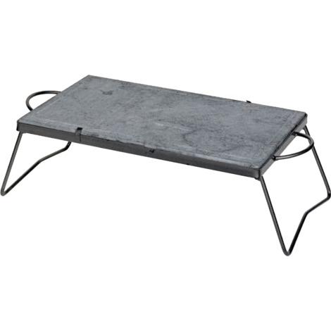 Plaque de cuisson 30x40 cm en pierre ollaire avec structure amovible en fer