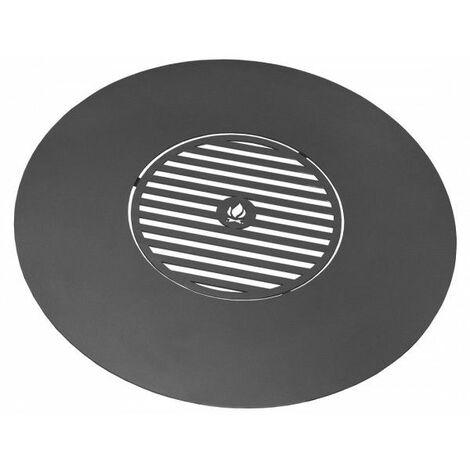 Plaque de cuisson avec grille pour braséro en acier - Sans anses - Sans anses