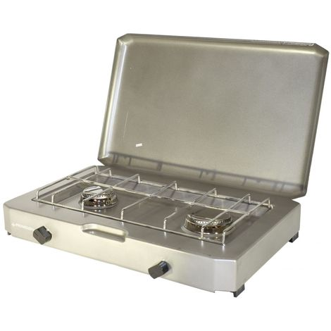 Plaque de cuisson FT 200. Rechaud camping gaz 2 feux pour bouteille de gaz 13 kg