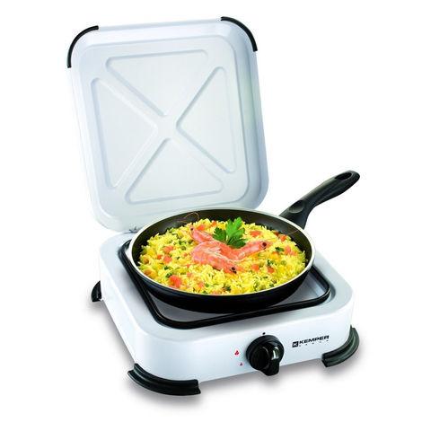 Plaque de cuisson gaz portable 1 feu - 1200 w - blanc laqué