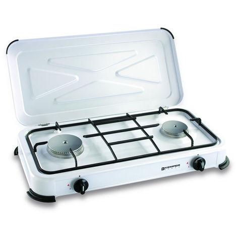 57750a1daff50 Plaque de cuisson gaz portable 2 feux - 2600 w - blanc laqué - 184