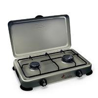 Plaque de cuisson gaz portable 2 feux 3200 W SILVER 2 butane-propane Gris aluminium couvercle