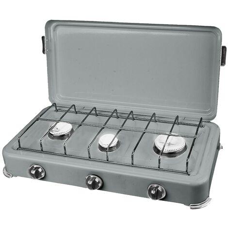 Plaque de cuisson gaz portable 3 feux 3000W SILVER 3 Butane/Propane Bruleurs inox Couvercle
